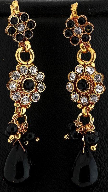 Faux Black Onyx Polki Earrings