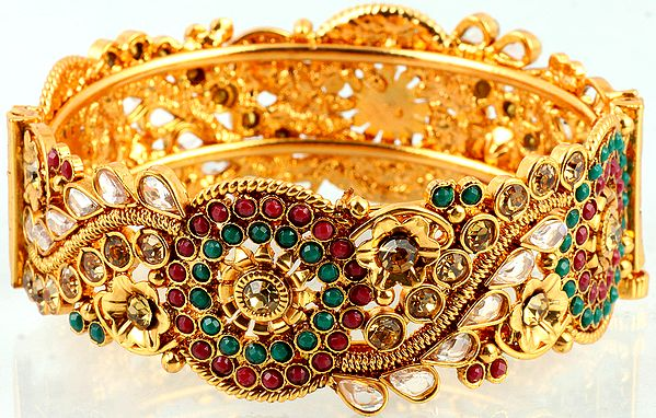 Faux Ruby and Emerald Kangan bracelet