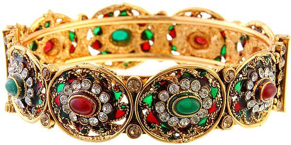 Polki Bracelet Faux Ruby and Emerald with Screw Clasp