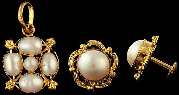 Pearl Pendant with Earrings Set