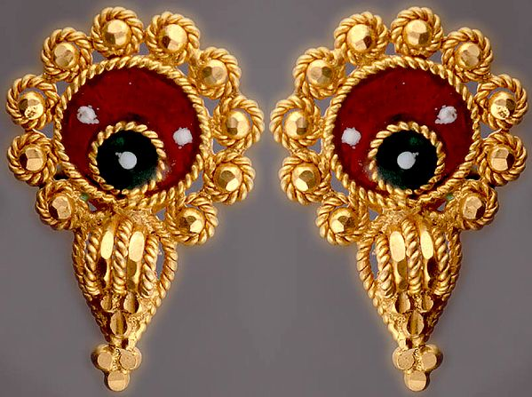 Meenakari Tops with Knotted Rope (Earrings)