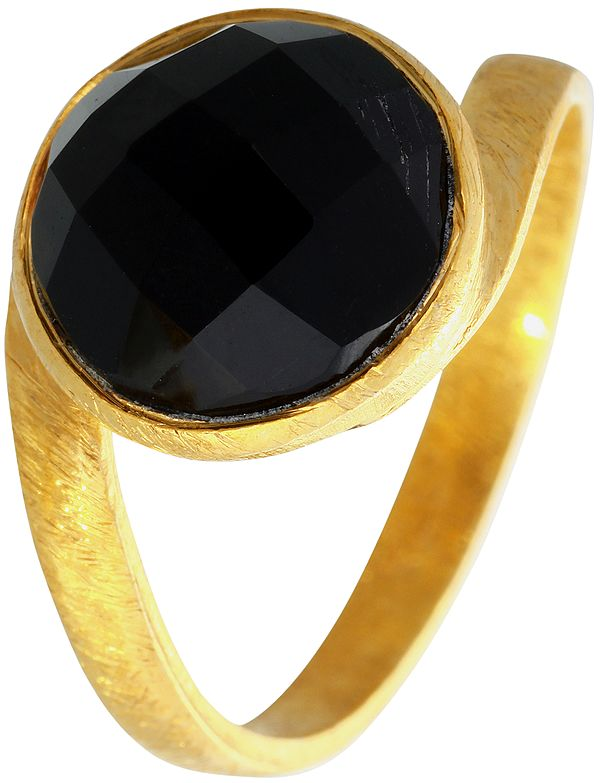 Faceted Black Onyx Gold Plated Ring
