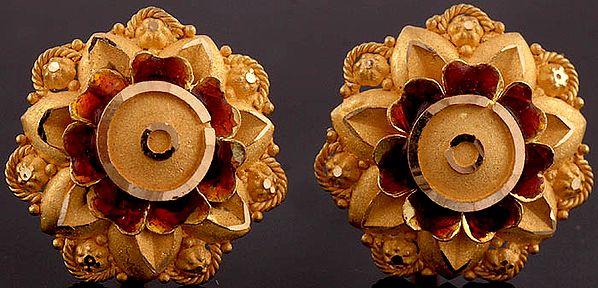 Meenakari Karnaphul (Flower Shaped Earrings)