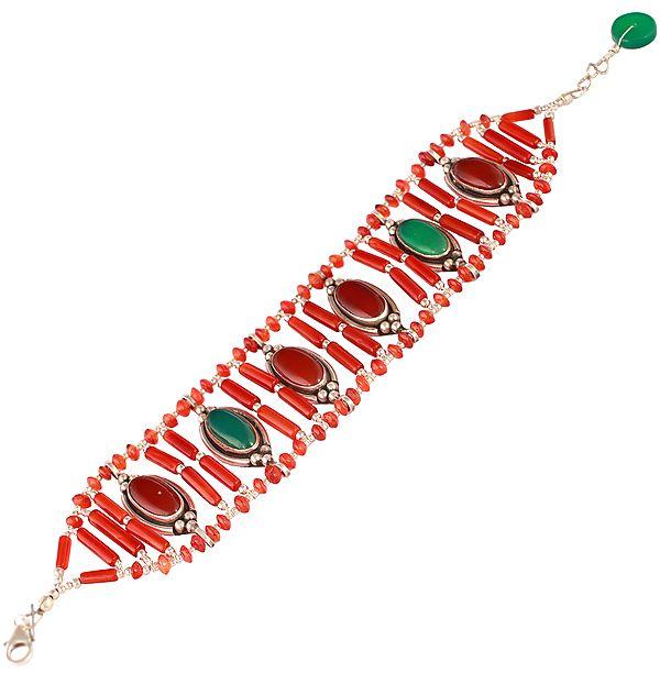 Bracelet with Carnelian and Green Onyx