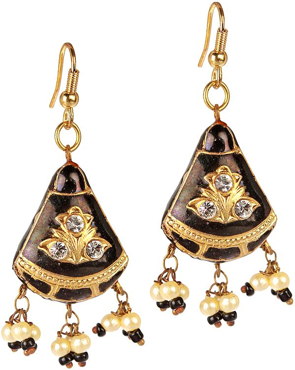 Black Earrings with Golden Accent