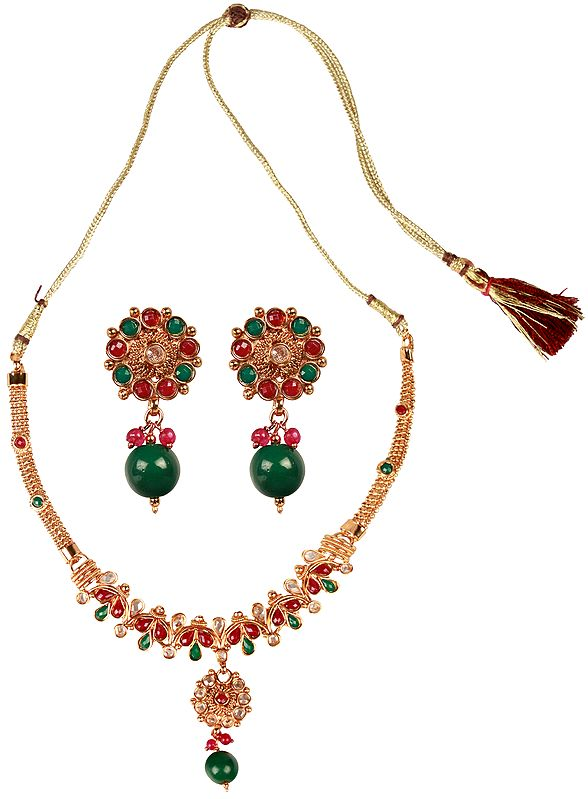 Faux Ruby and Emerald Necklace with Earrings Set
