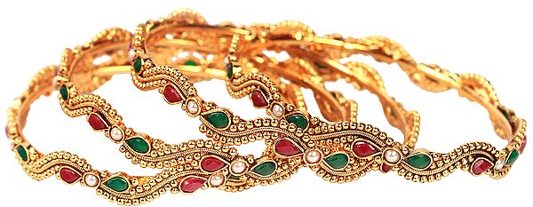 Set of Four Polki Bangles