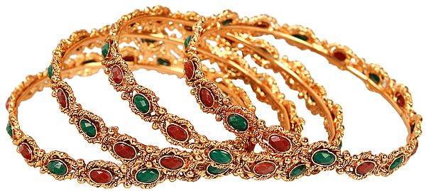 Set of Four Bridal Bangles with Faux Ruby and Emerald