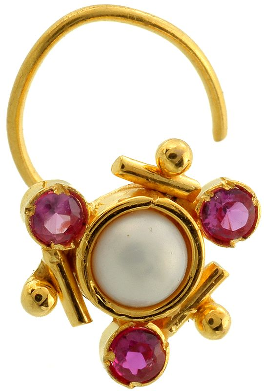 Pearl Nose Pin with Faceted Pink Tourmaline
