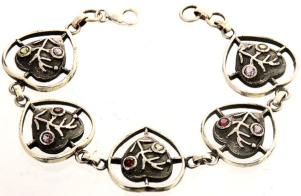 Valentine Bracelet with Gemstones (Faceted Amethyst, Peridot and Garnet)