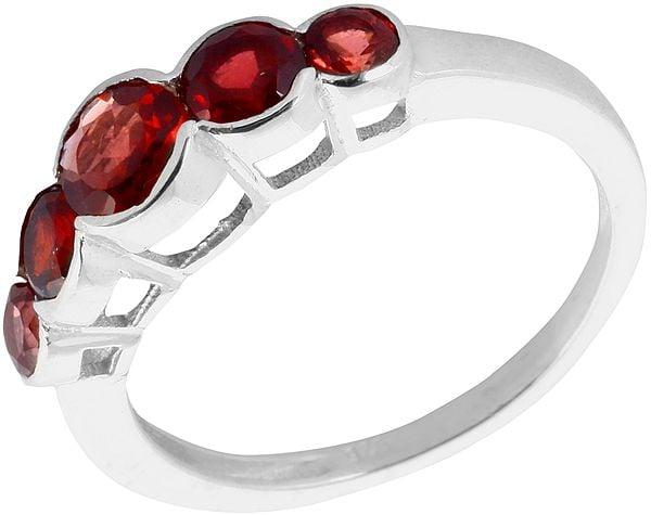 Faceted Garnet Ring