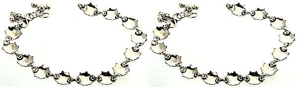 Stylized Tortoise Anklets of Sterling Silver (Price Per Pair)