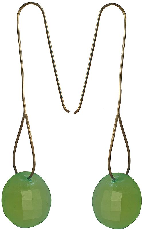 Faceted Green Chalcedony Earrings