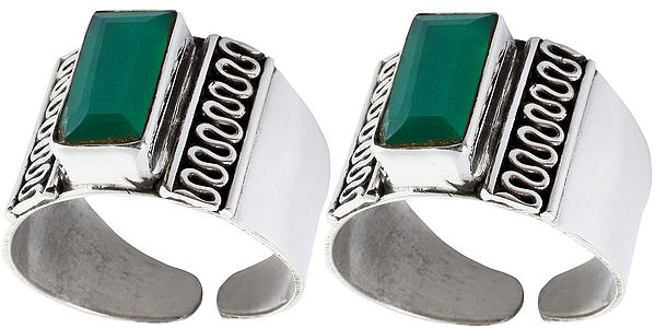 Green Onyx Toe Rings (Price Per Pair)