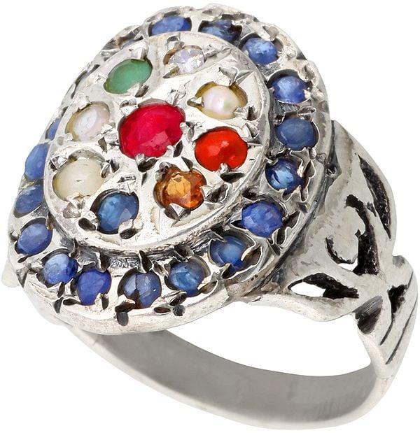 Navaratna Ring with Sapphire Border