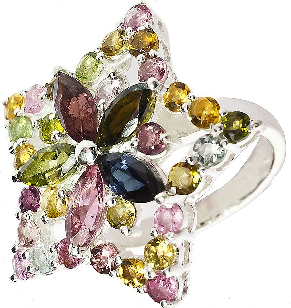 Faceted Tourmaline Star Ring (Mixed Color)
