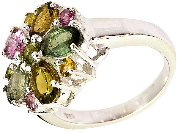 Faceted Tourmaline Ring (Mixed Color)