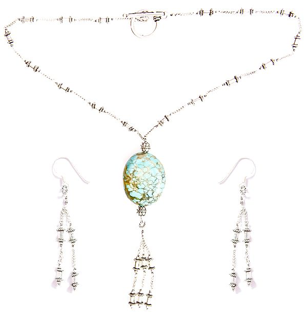 Spider's Web Turquoise Necklace with Earrings Set