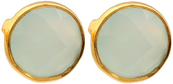 Faceted Peru Chalcedony Gold Plated Post Earrings