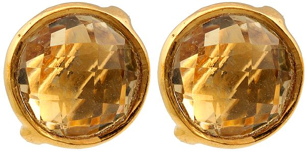 Faceted Citrine Gold Plated Earrings