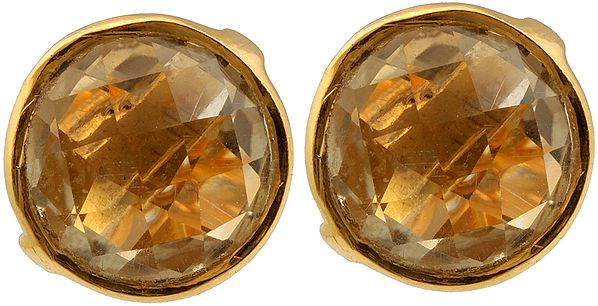 Faceted Citrine Gold Plated Tops
