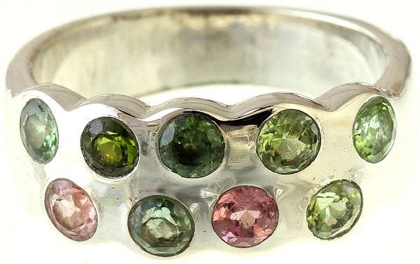 Faceted Green and Pink Tourmaline Ring