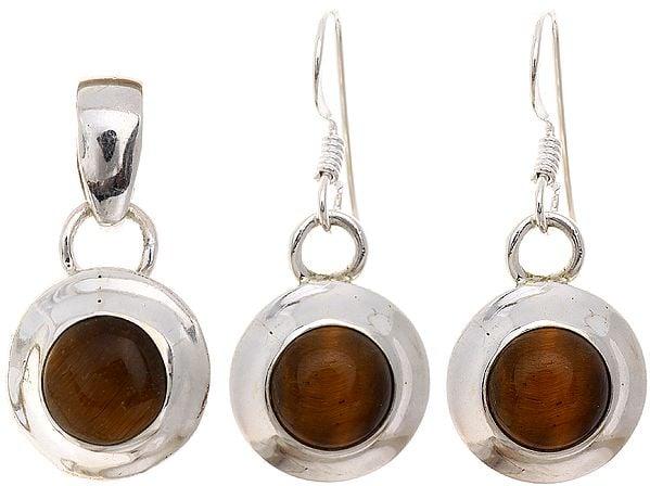 Tiger Eye Pendant and Earrings Set