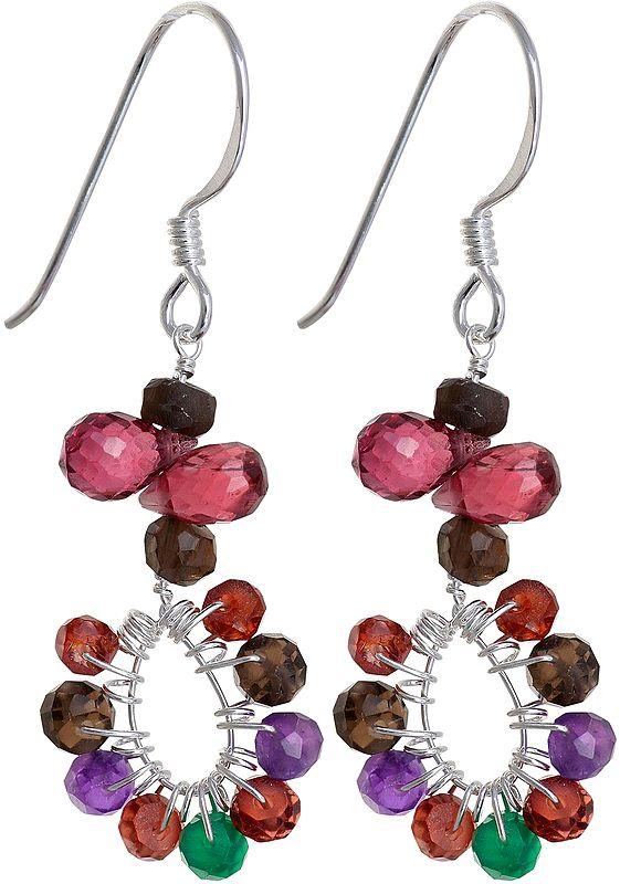 Faceted Gemstone Earrings (Smoky Quartz, Garnet, Amethyst and Green Onyx)