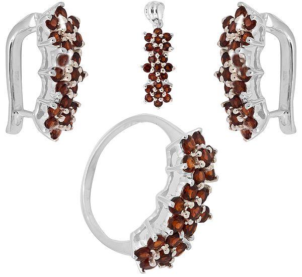 Faceted Garnet  Pendant, Earrings and Ring Set
