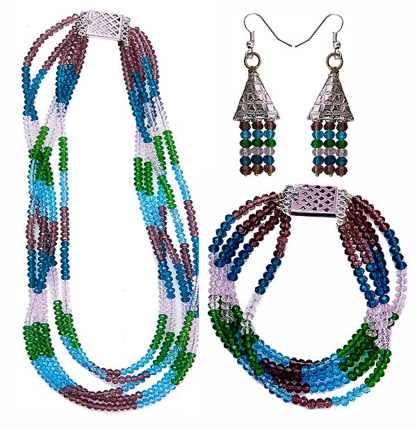 Multi-Color Faux Crystal Necklace, Earrings and Bracelet Set