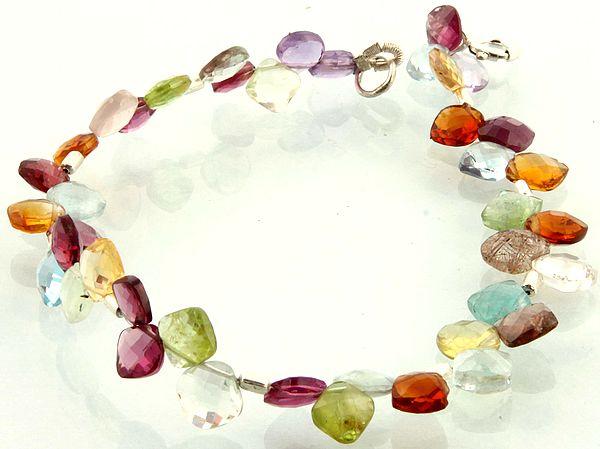 Faceted Gemstone Bracelet (Amethyst, Crystal, Garnet, Peridot, BT and  Citrine)
