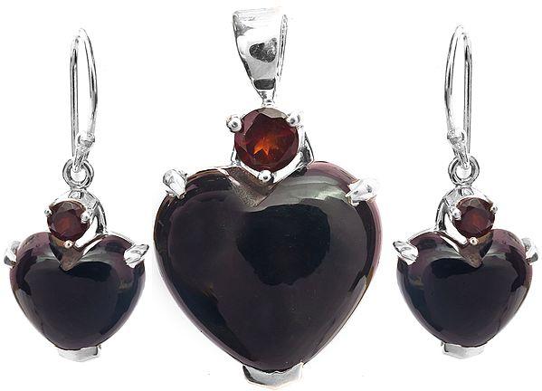 Black Onyx Heart-Shape Pendant with Garnet and Earrings Set