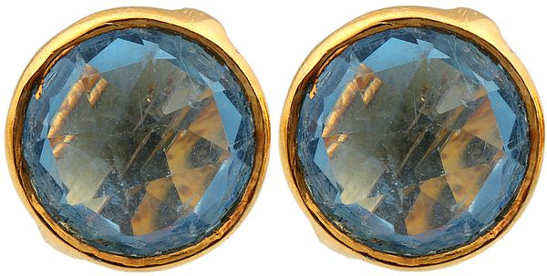 Faceted Blue Topaz Gold Plated Tops