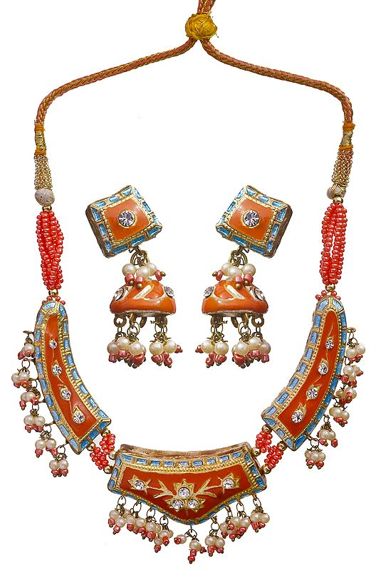 Orange Mughal Necklace Set  with cut Glass and Golden Accent