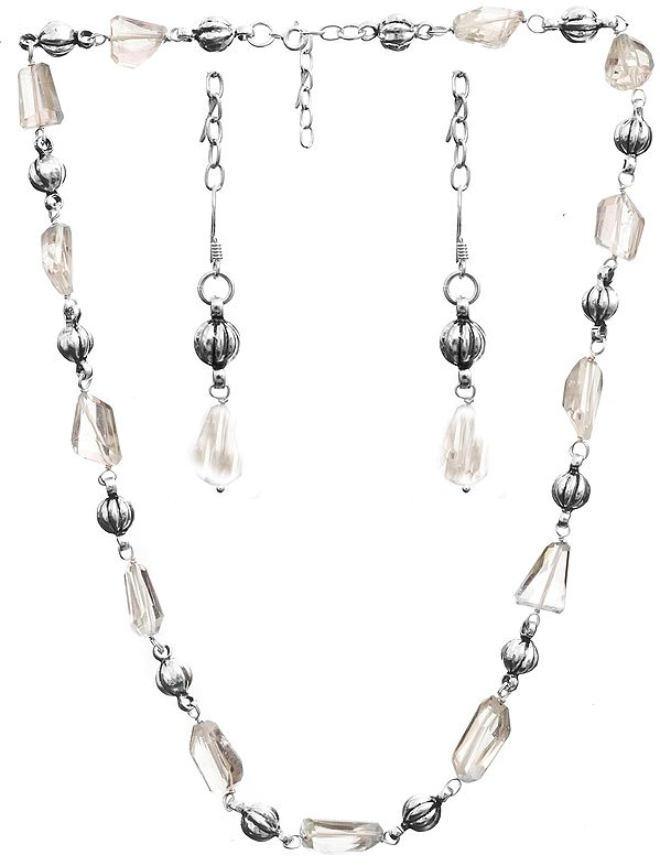 Faceted Green Amethyst Necklace and Earrings Set