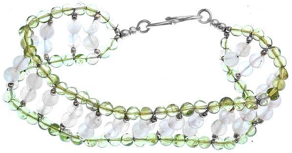 Rose Quartz and Peridot Beaded Bracelet