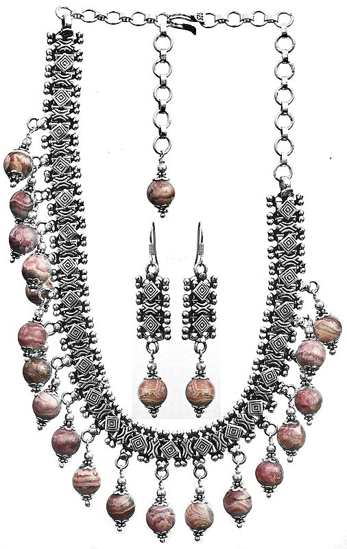 Rhodochrosite Necklace with Matching Earrings