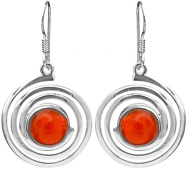 Carnelian Spiral Earrings