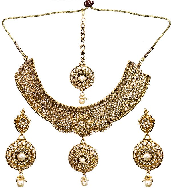 Mughal Bridal chokar Set With Mang Tika