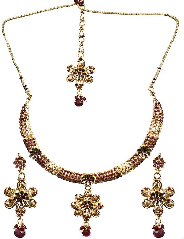 Polki Floral Necklace Set with Mang Tika