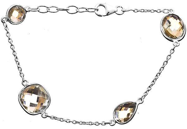 Sterling Bracelet With Faceted Gems