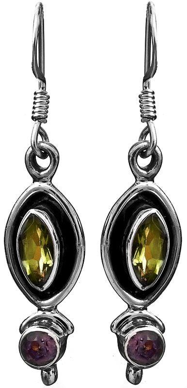 Peridot with Amethyst Earrings