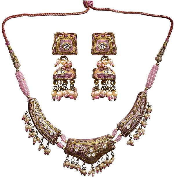 Pink Necklace Set and Earrings with Golden Accent