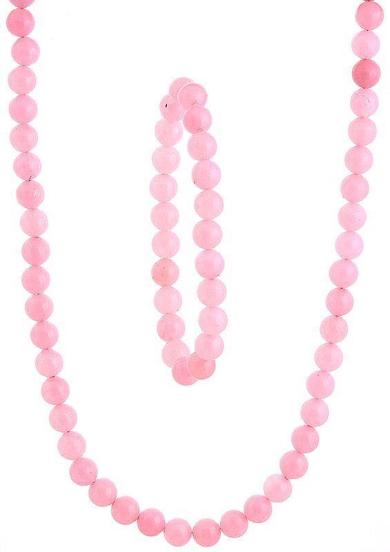 Pink Necklace and Stretch Bracelet Set