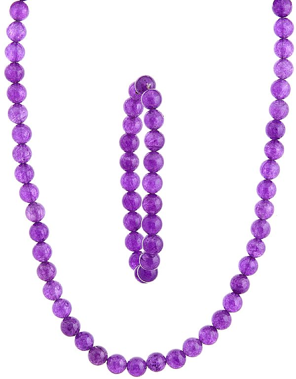 Purple Necklace with Stretch Bracelet Set