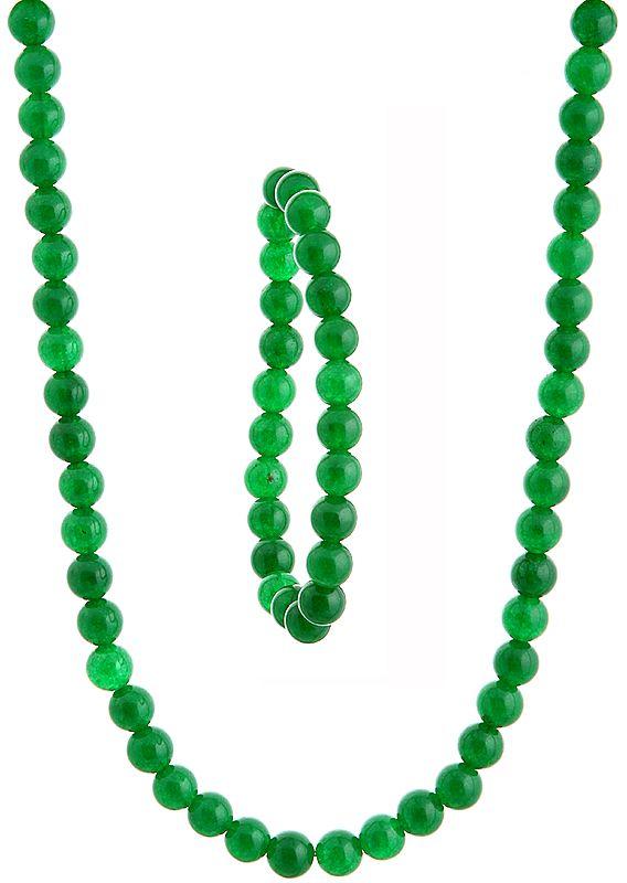Green Necklace with Stretch Bracelet Set