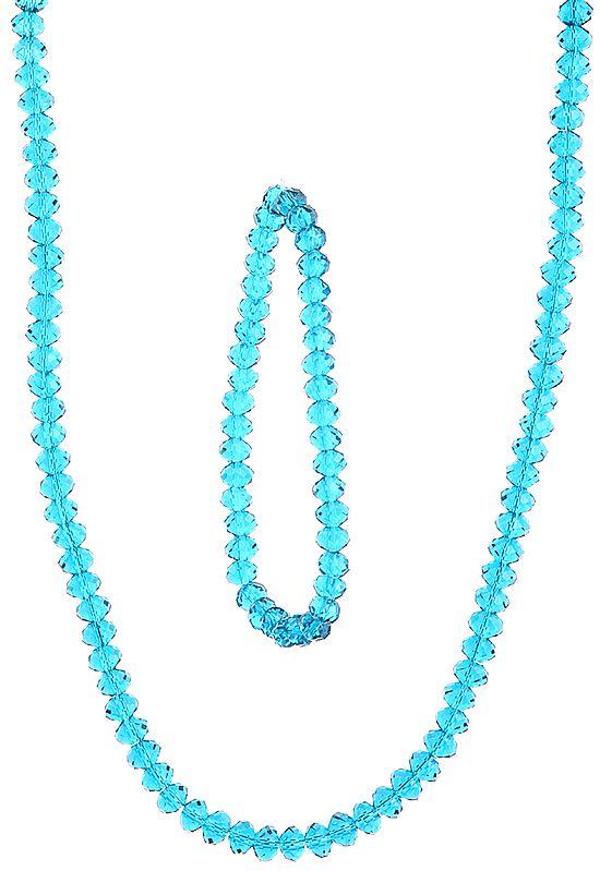Faceted Corsair Blue Necklace with Stretch Bracelet Set