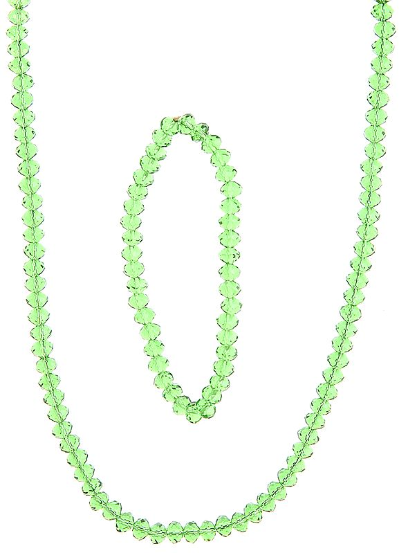 Faceted Green Necklace with Stretch Bracelet Set