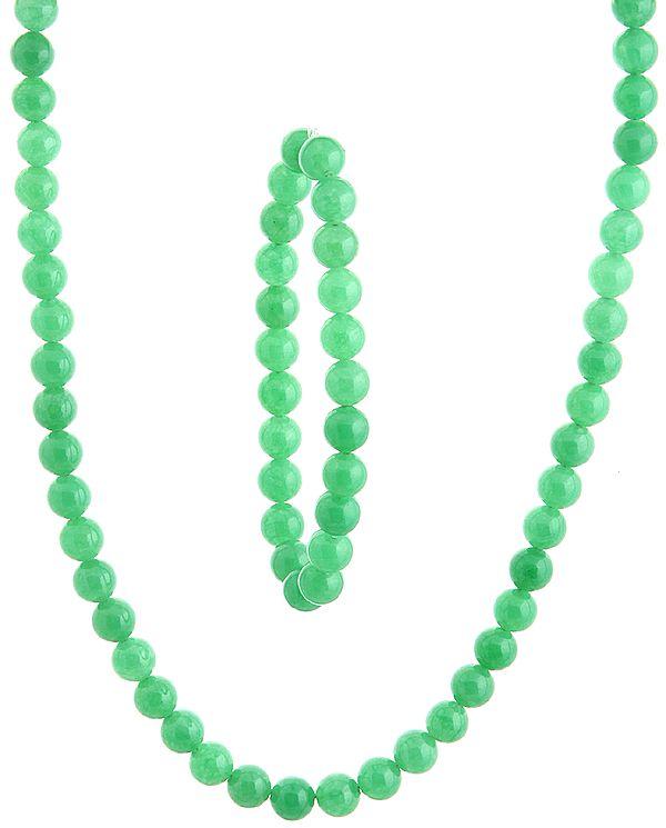 Light Green Necklace with Stretch Bracelet Set