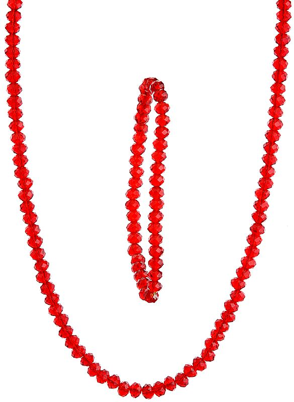 Red Beaded Necklace with Stretch Bracelet Set